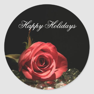 Holiday Rose Customizable Christmas Stickers
