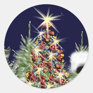 Holiday Season Cards Envelope Seals Round Sticker