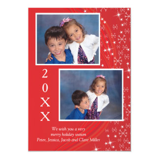 Holiday Season Red & White Stars - Christmas Card