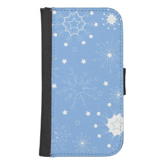 Holiday Snowflakes on Blue Samsung S4 Wallet Case