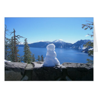 Holiday Snowman, Crater Lake National Park Greeting Card