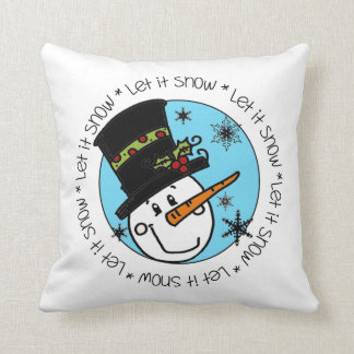 Holiday Snowman Let It Snow Throw Pillow