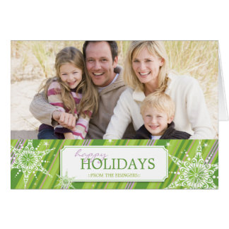 Holiday Sparkle Greetings B - Green Greeting Card