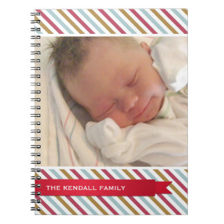 Holiday stripes red ribbon photo cover journal
