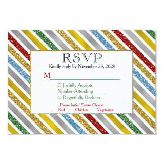 Holiday Stripes RSVP Wedding Response Meal Choice Card