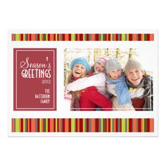 Holiday Stripes Season's Greetings Photo Card