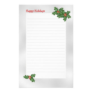 Holiday Themed, Green Holly Lined Writing Paper Customised Stationery