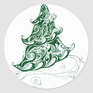 Holiday Tree Classic Round Sticker