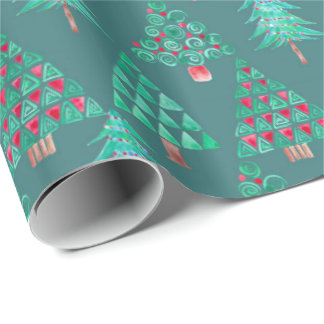 Holiday Watercolor Christmas Tree Gift Wrap Teal