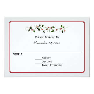 Holiday Wedding RSVP Reply or Response Card 9 Cm X 13 Cm Invitation Card