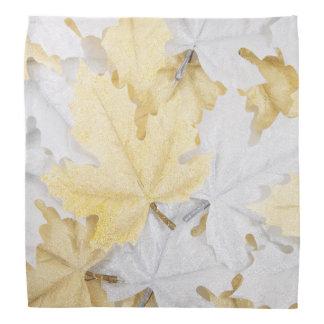 Holiday Winter White and Gold Glitter Maple Leaves Bandana