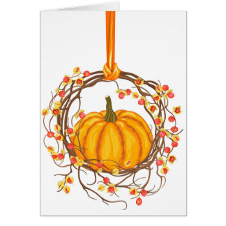 Holiday Wreath With Pumpkin Card