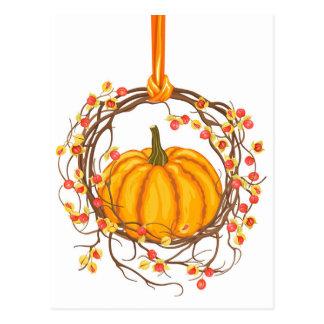 Holiday Wreath With Pumpkin Postcard