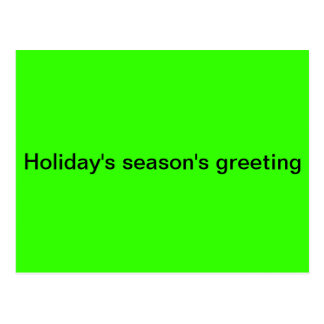 Holiday's season's greeting postcard