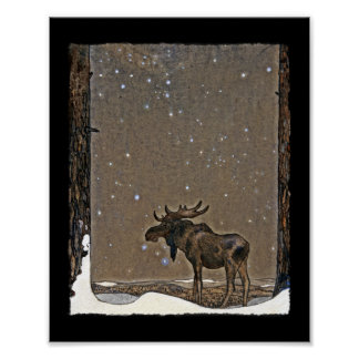 Holilday Moose in Snow Posters