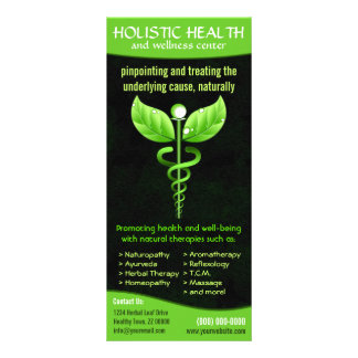 Holistic Alternative Medicine Green Caduceus Custom Rack Cards