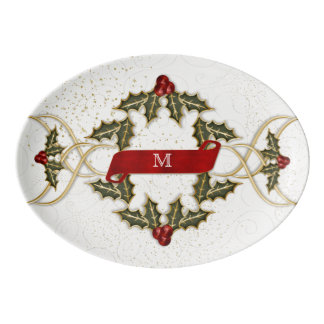Holly and Berry Monogrammed Retro Holiday Porcelain Serving Platter