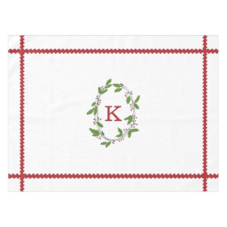 Holly Berries Monogram Holiday Tablecloth