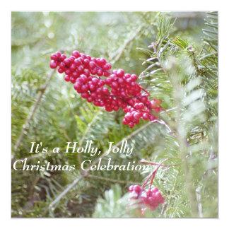 Holly Berry Christmas Invitation