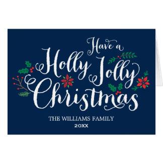 Holly Jolly Christmas Card | Navy Blue