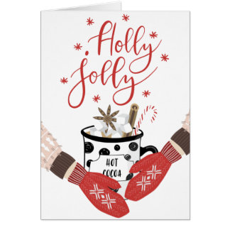 Holly Jolly Red Christmas Card