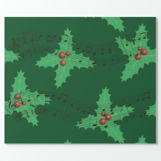 Holly leafs and melody wrapping paper
