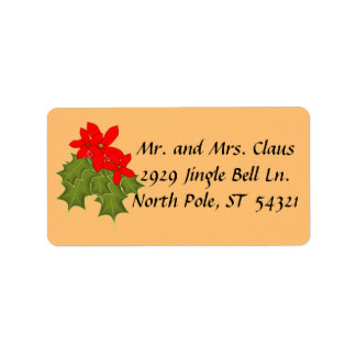 Holly, Red Berries, Red Poinsettia Winter Holidays Label