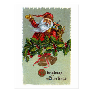 Holly Vintage Santa Christmas Postcard