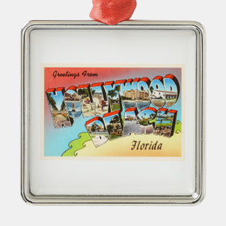 Hollywood Beach Florida FL Vintage Travel Souvenir Christmas Ornament