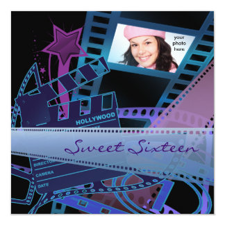 Hollywood Movie Star Sweet 16 Birthday Party Card