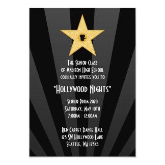 "Hollywood Nights Gold Star Prom Formal Invitation 5"" X 7"" Invitation Card"