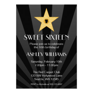 Hollywood Nights Gold Star Sweet 16 Birthday Announcements