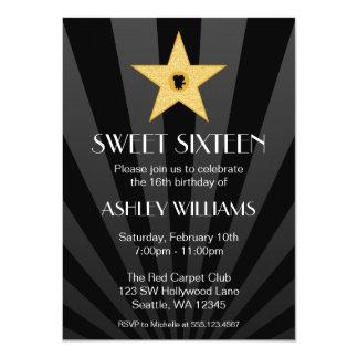 Hollywood Nights Gold Star Sweet 16 Birthday 11 Cm X 16 Cm Invitation Card