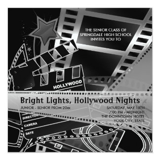 "Hollywood Prom Invitations 5.25"" Square Invitation Card"