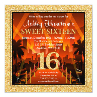 Hollywood Red Carpet City Gold Glitter Sweet 16 13 Cm X 13 Cm Square Invitation Card