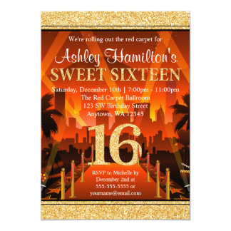 Hollywood Red Carpet City Gold Glitter Sweet 16 13 Cm X 18 Cm Invitation Card