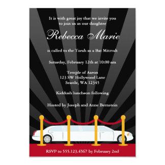 "Hollywood Red Carpet Limo Bat Mitzvah Invitation 5"" X 7"" Invitation Card"