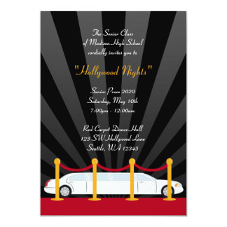 Hollywood Red Carpet Limo Prom Formal Invitation