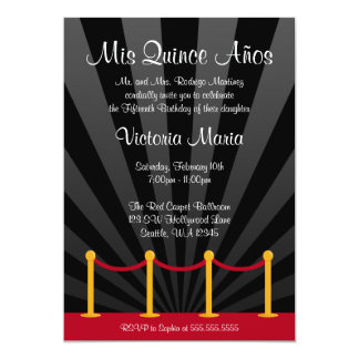 Hollywood Red Carpet Quinceanera Party 13 Cm X 18 Cm Invitation Card
