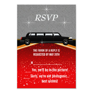 """Hollywood Red Carpet RSVP Template 3.5"""" X 5"""" Invitation Card"""