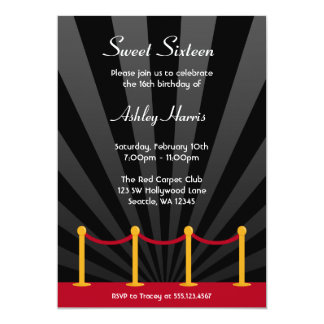 Hollywood Red Carpet Sweet 16 Birthday Party 5x7 Paper Invitation Card