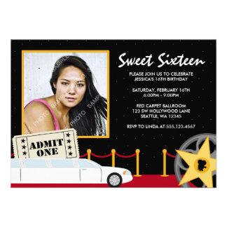 Hollywood Red Carpet Sweet 16 Photo Invitation