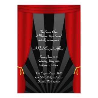 "Hollywood Red Curtain Prom Formal Invitations 5"" X 7"" Invitation Card"