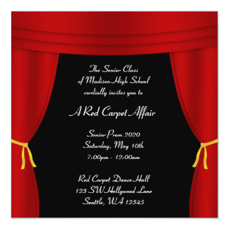 Hollywood Red Curtain Prom Formal Square 5.25x5.25 Square Paper Invitation Card