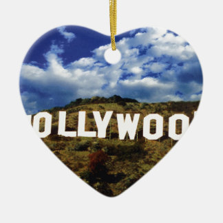 Hollywood sign usa americana hoolywoodland movies christmas ornament