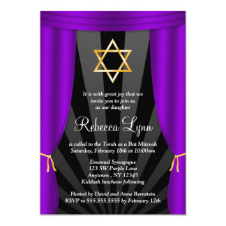 Hollywood Star of David Purple Bat Mitzvah 13 Cm X 18 Cm Invitation Card