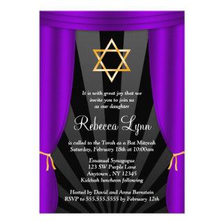 Hollywood Star of David Purple Bat Mitzvah Invite