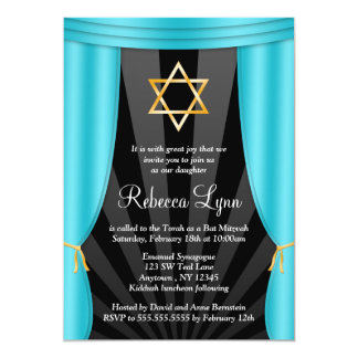 Hollywood Star of David Teal Blue Bat Mitzvah 13 Cm X 18 Cm Invitation Card