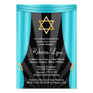 Hollywood Star of David Teal Blue Bat Mitzvah Personalized Invite