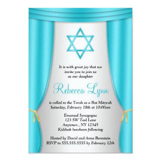 Hollywood Star of David Teal Silver Bat Mitzvah 13 Cm X 18 Cm Invitation Card